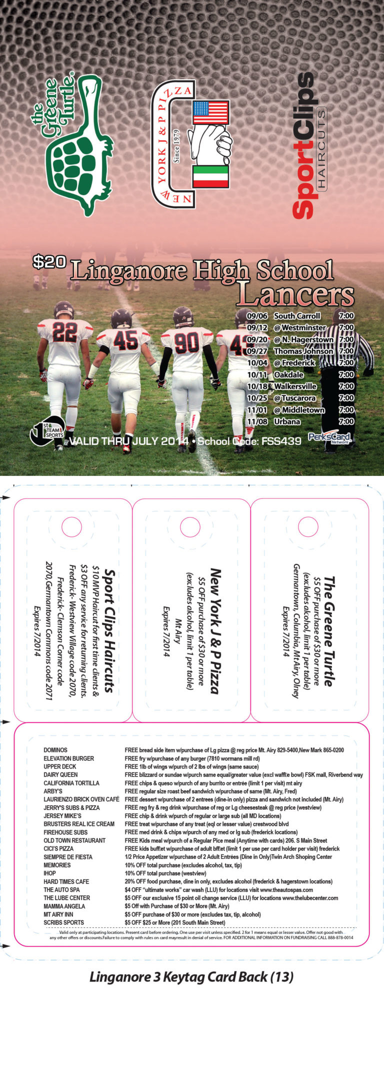 1st Team Sports Linganore Keytag Card